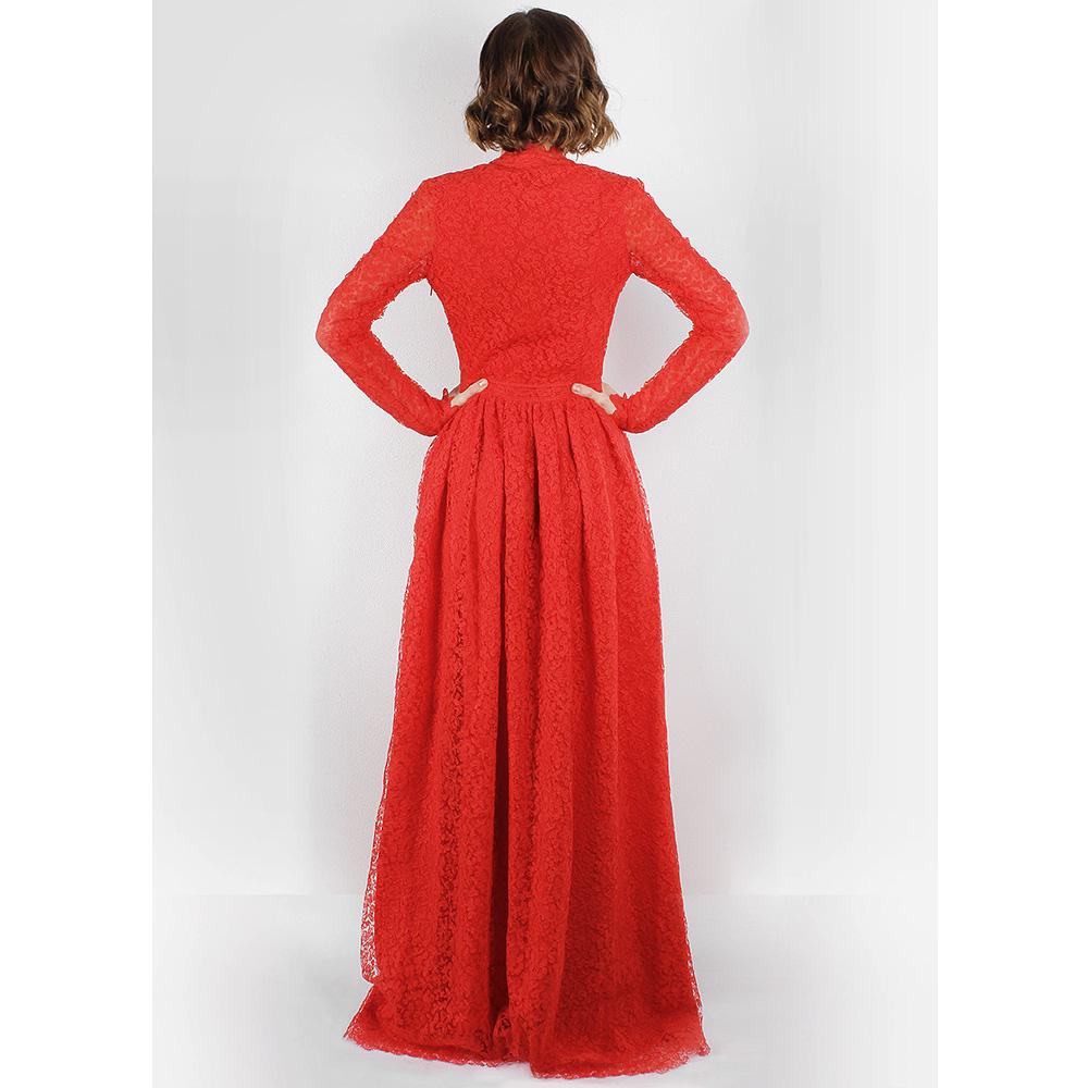 Красное кружевное платье Ermanno Scervino с разрезом