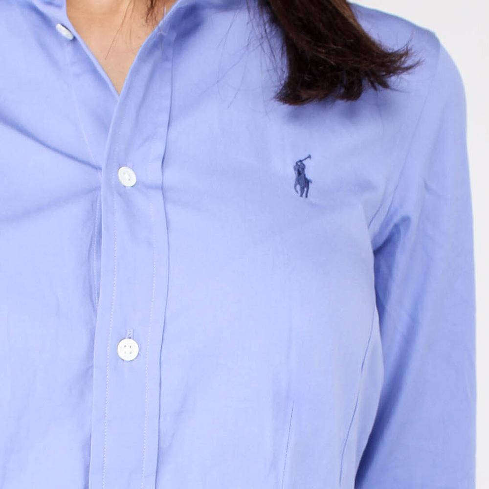 Синее платье-рубашка Polo Ralph Lauren с пышной юбкой