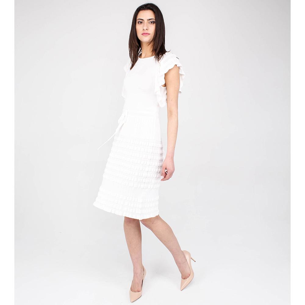 Белое трикотажное платье Blumarine с воланами