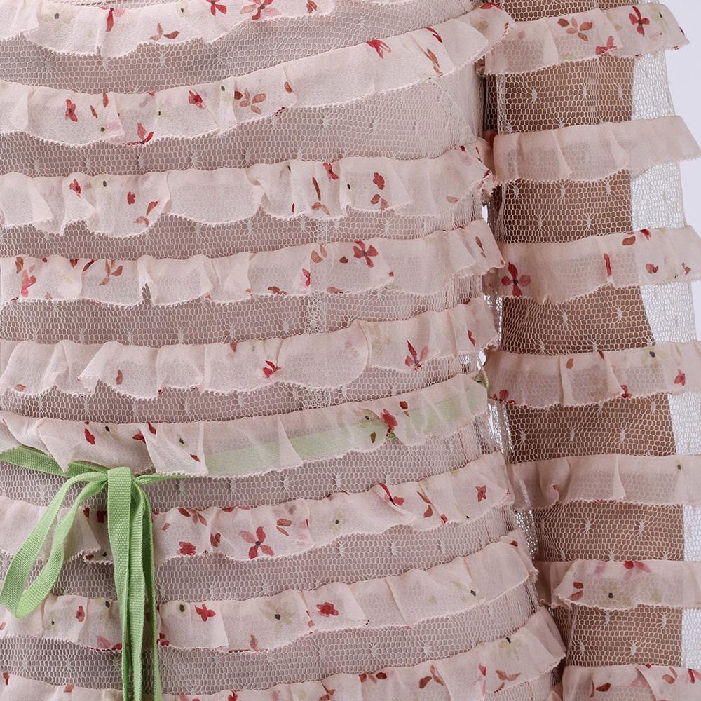 Длинное платье Red Valentino бежевого цвета с рюшами