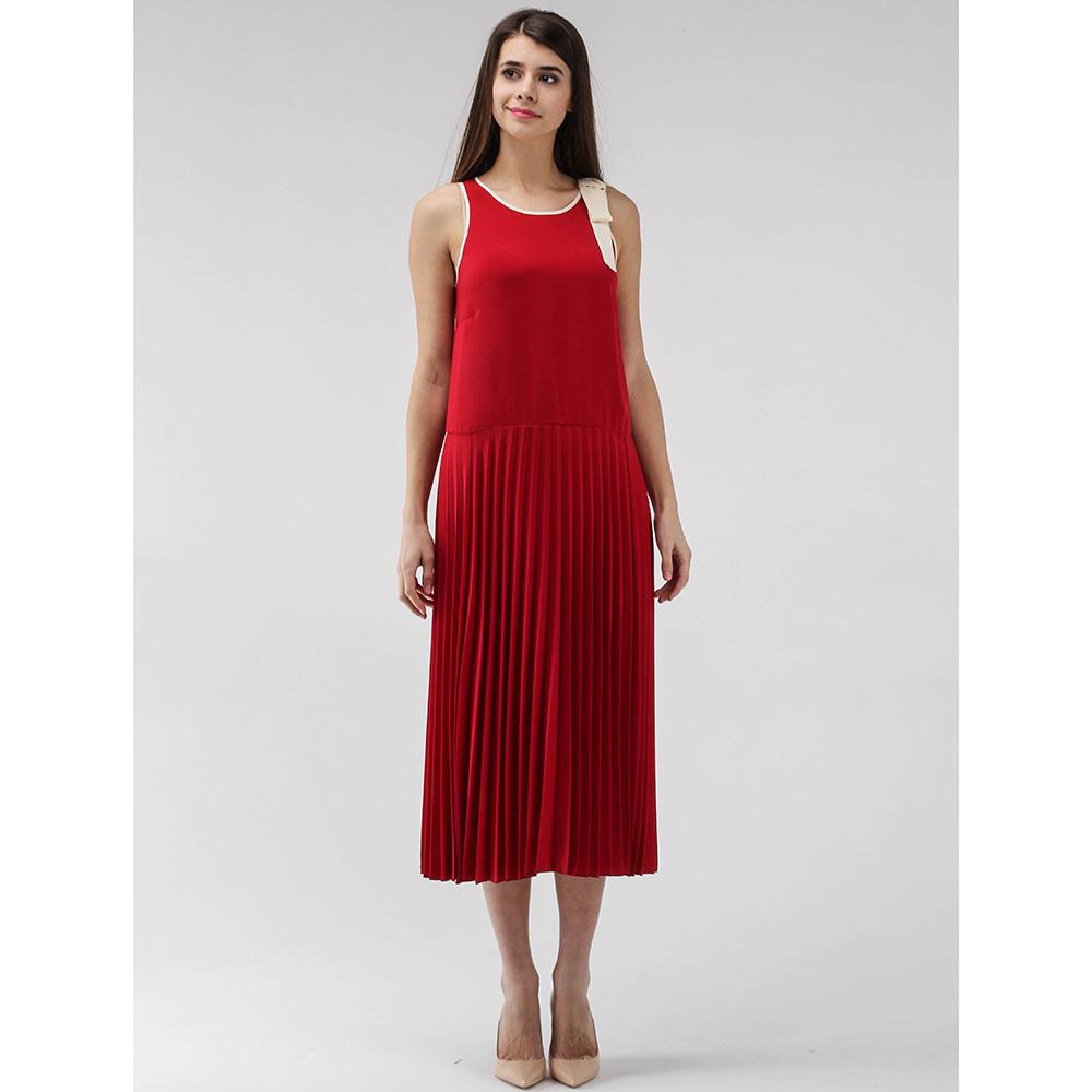 Платье-миди Red Valentino с плиссированной юбкой