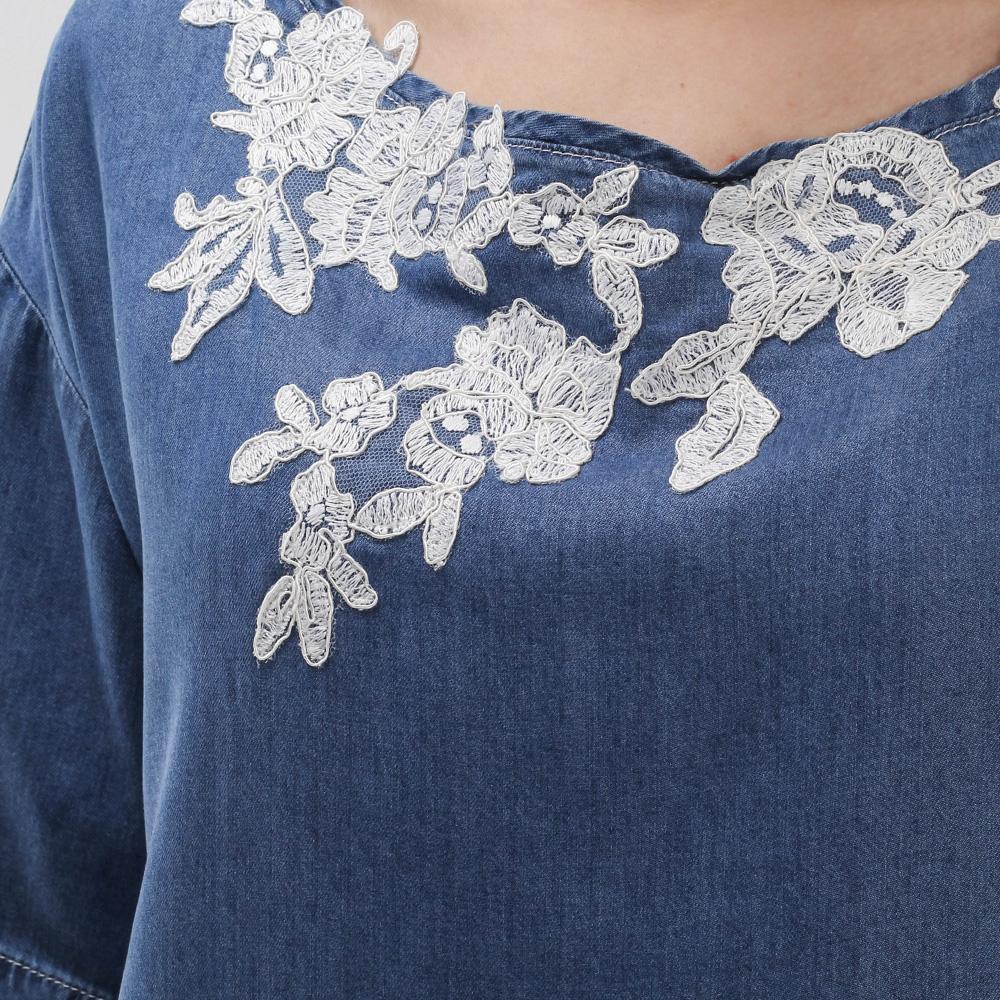 Джинсовое платье Ermanno Scervino с кружевными вставками