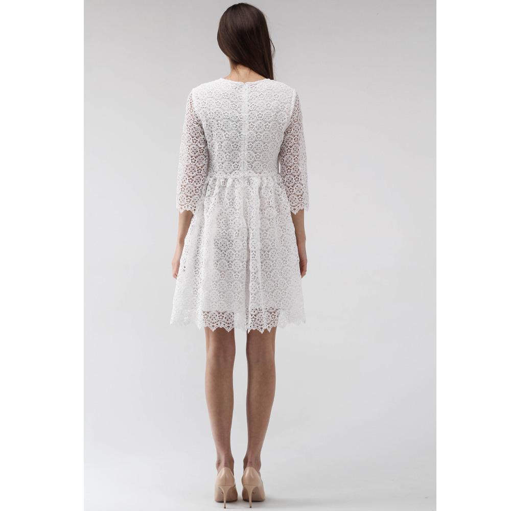 Кружевное платье-беби долл Ermanno Scervino белого цвета