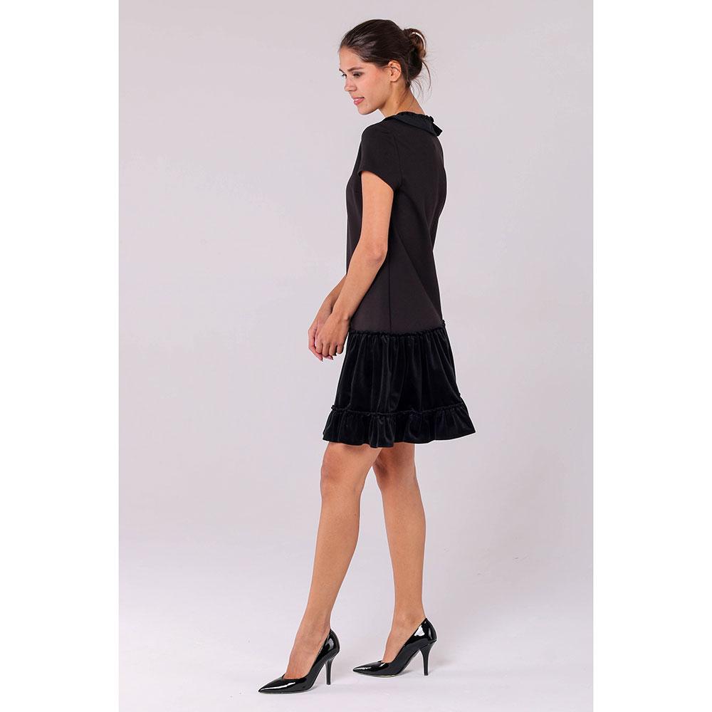 Черное платье Emporio Armani с бархатными юбкой и воротом