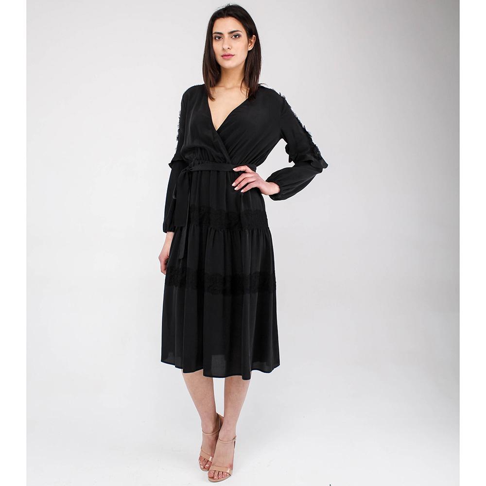 Черное платье Elisabetta Franchi под пояс