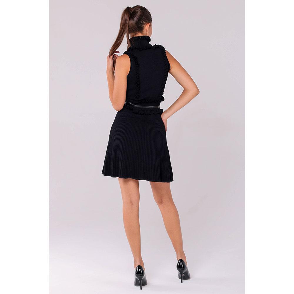Черное трикотажное платье Elisabetta Franchi с поясом
