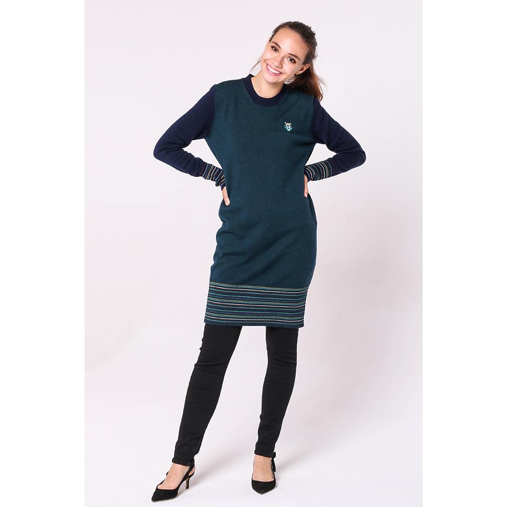 Зеленое платье-туника Kenzo с полосатыми вставками