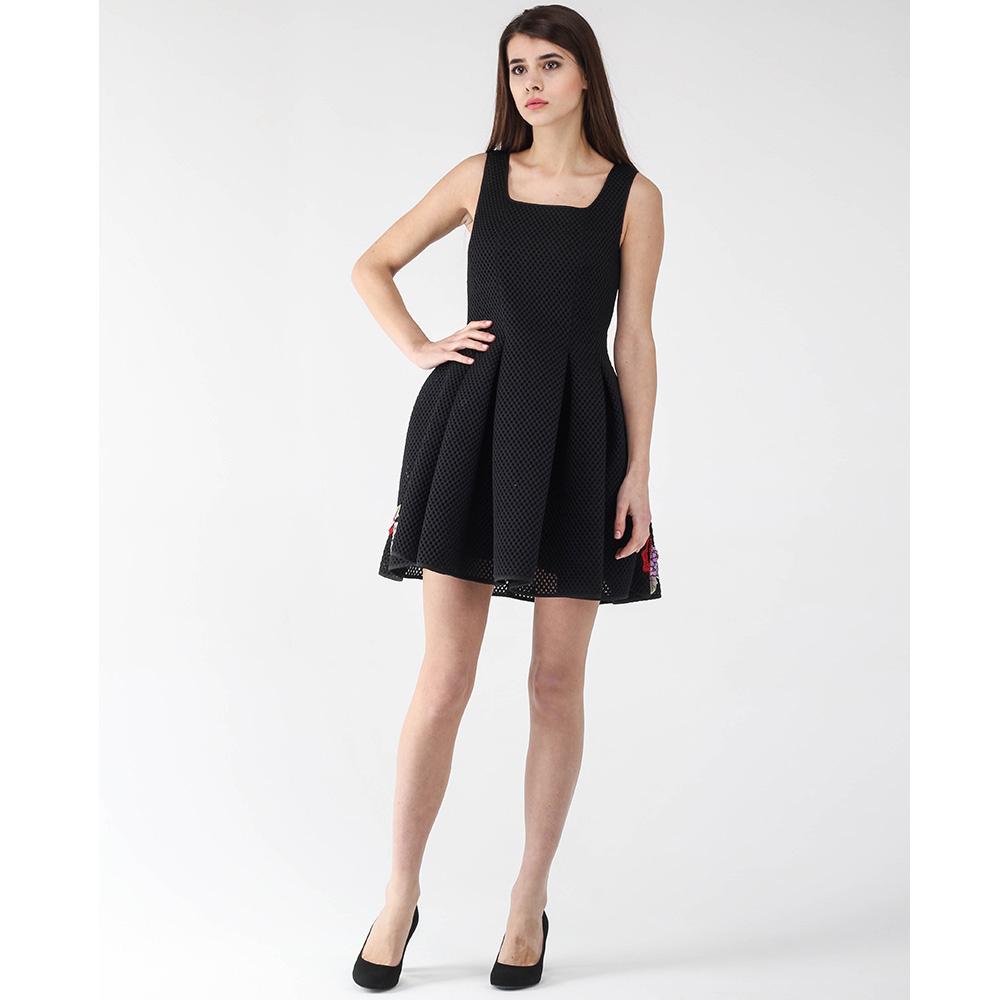 Платье-беби долл Philipp Plein черное с цветочной вышивкой