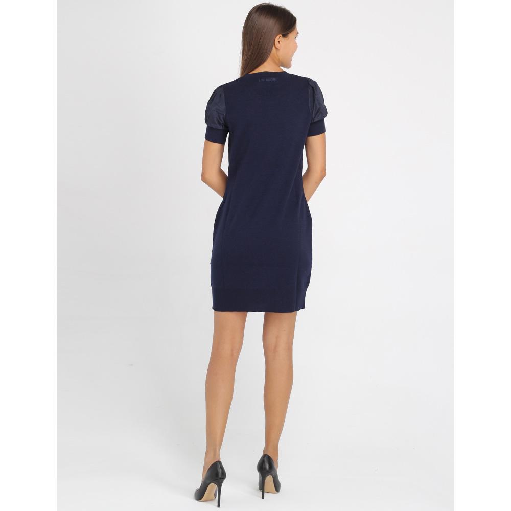 Шерстяное платье Love Moschino синего цвета с рукавом-фонариком