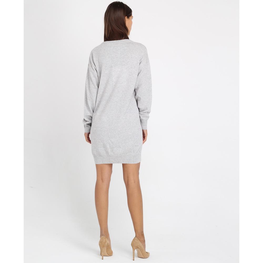 Платье-туника Love Moschino серого цвета с яркой аппликацией
