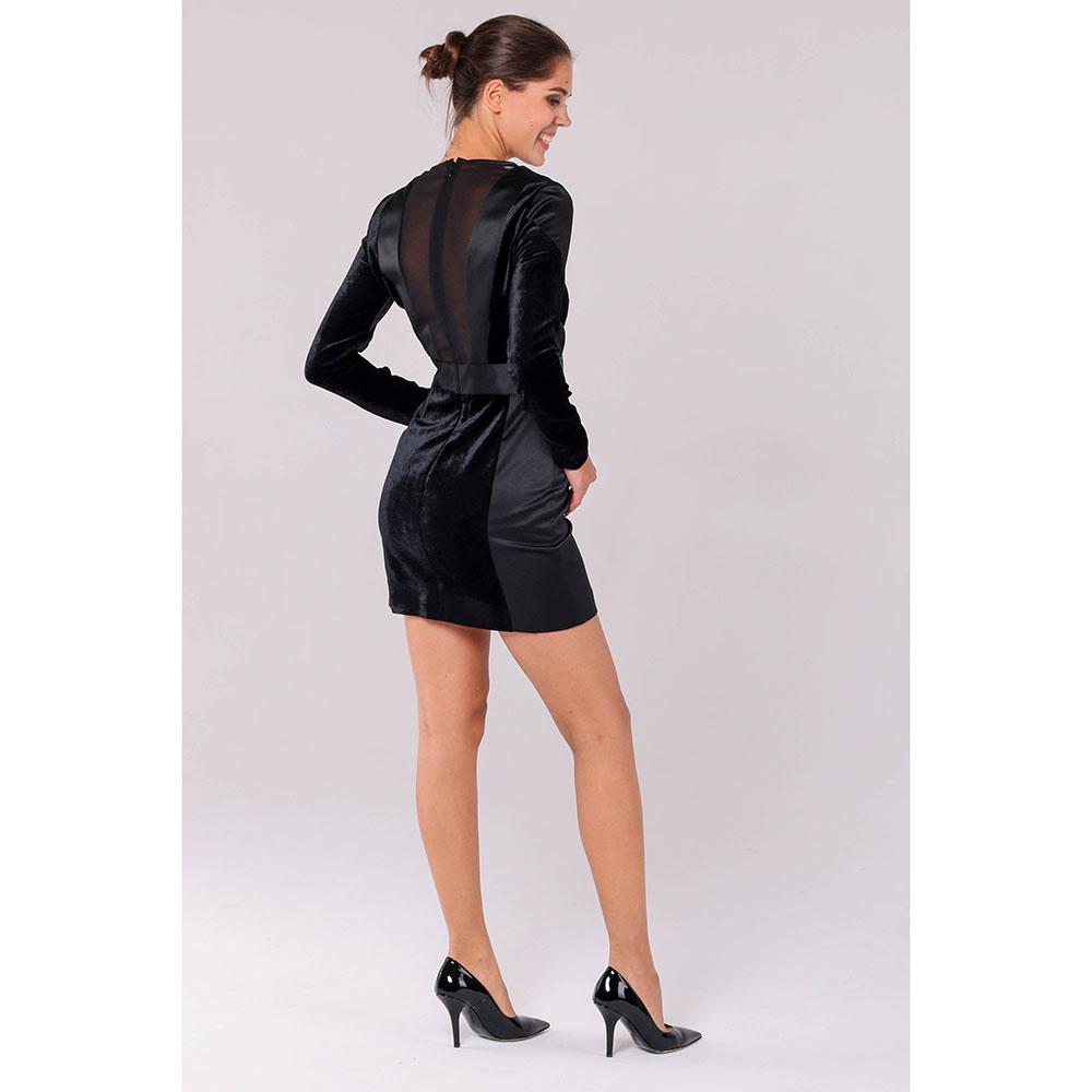 Черное мини-платье Philipp Plein с бархатными элементами и полупрозрачной спинкой