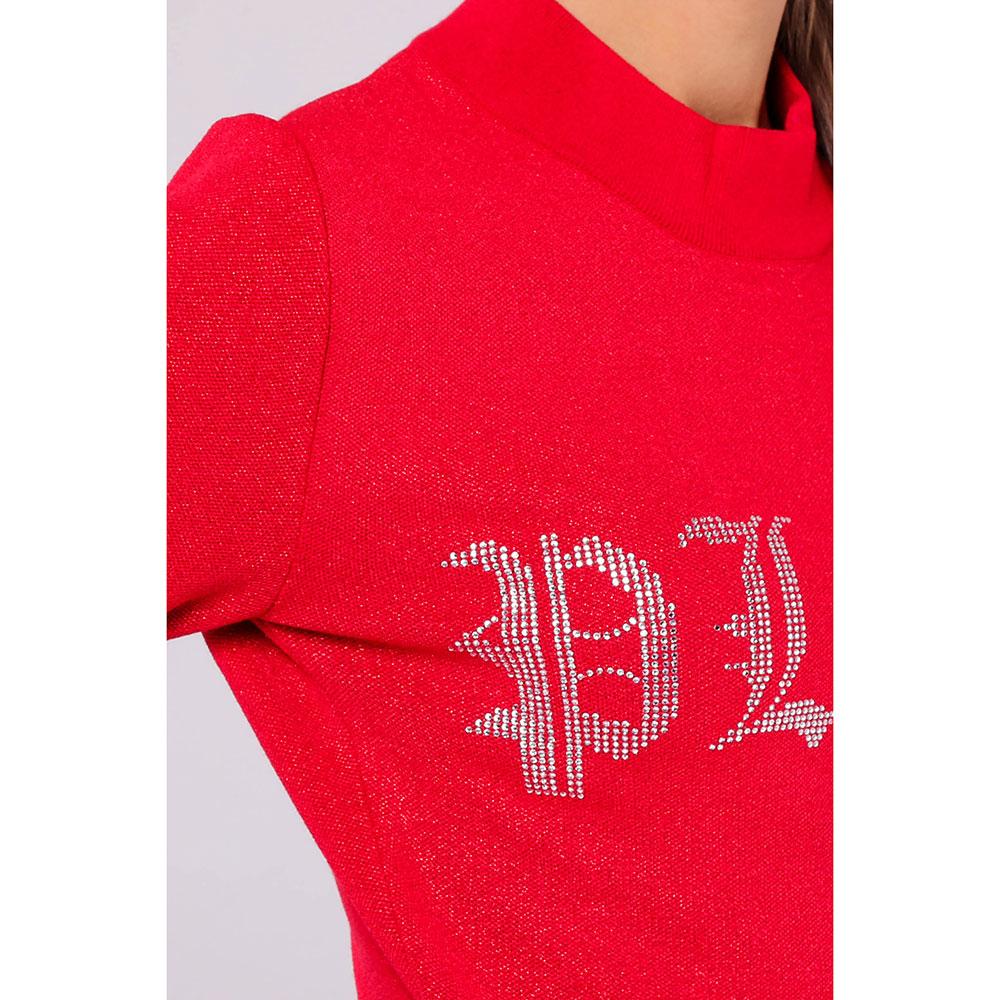 Красное трикотажное платье Philipp Plein с люрексом