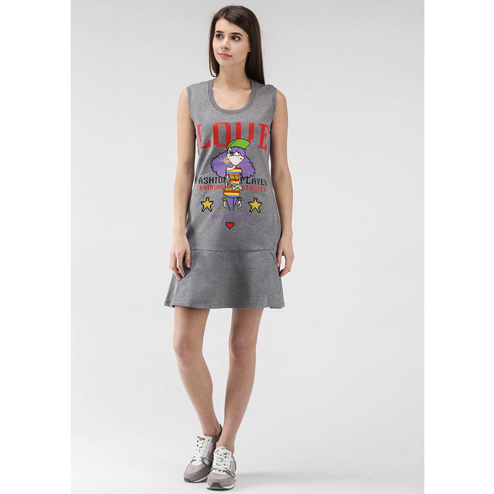Серое платье-футболка Love Moschino без рукава