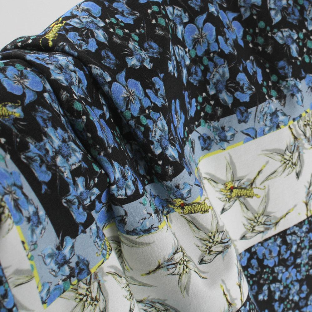 Платье-футляр Cavalli Class синее с растительным принтом