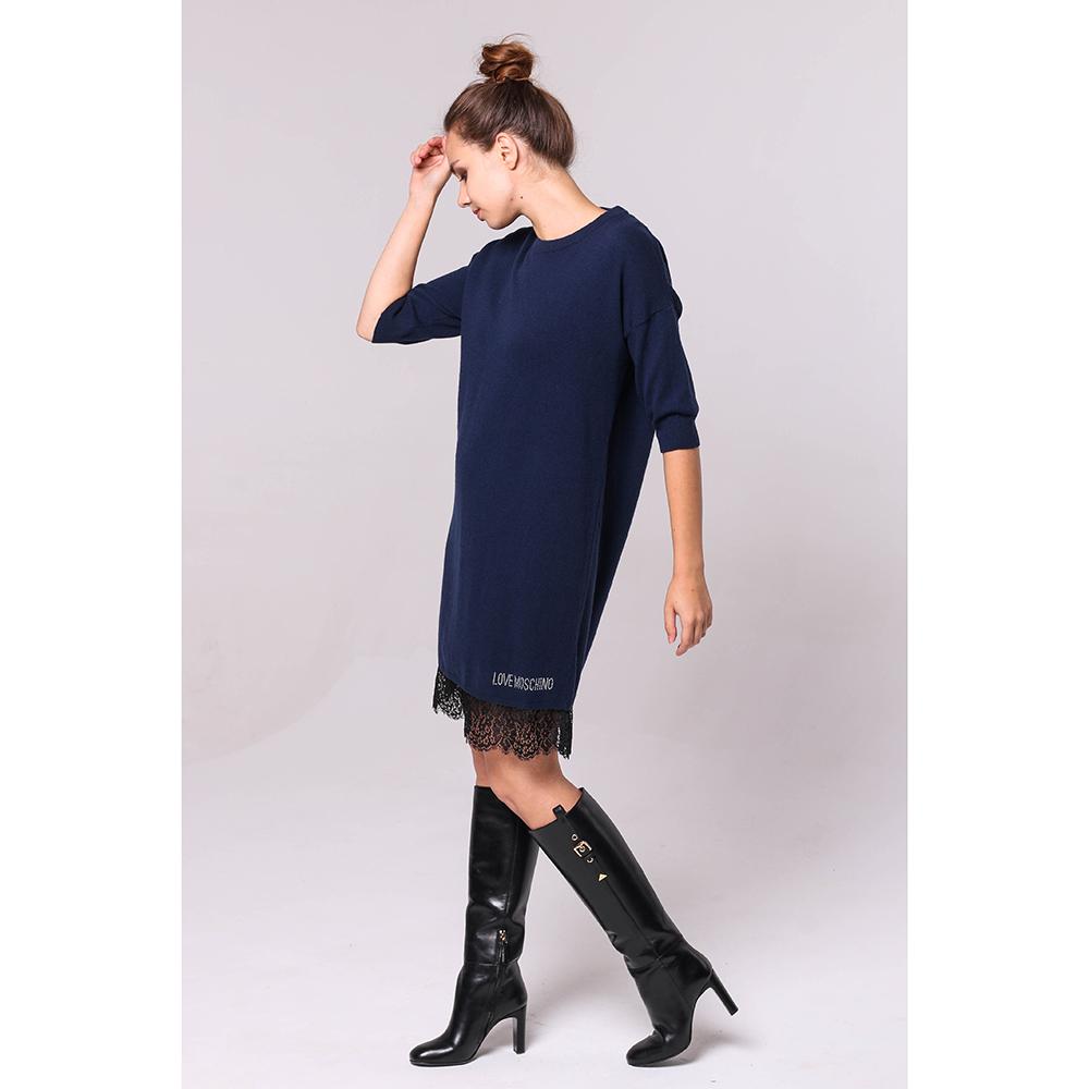 Синее платье Love Moschino с рукавом три четверти