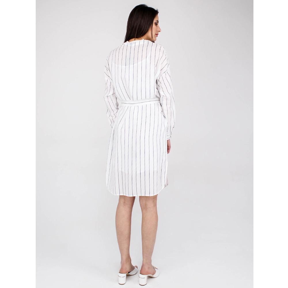 Полосатое платье-рубашка Peserico с накладными карманами