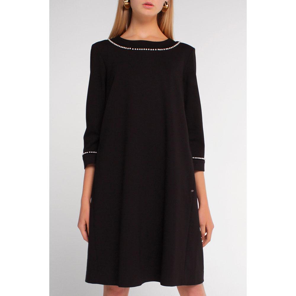 Платье Twin-Set черное с декором-жемчугом