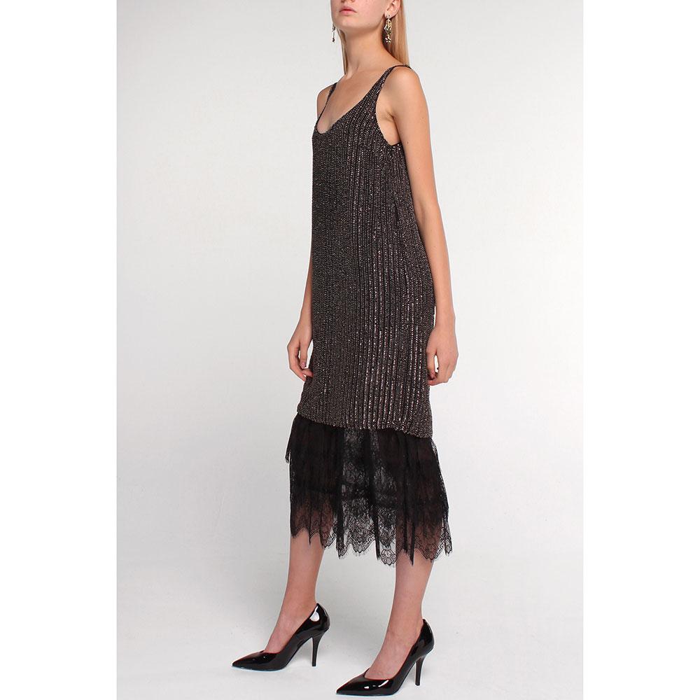Платье Twin-Set черное с декором-пайетками