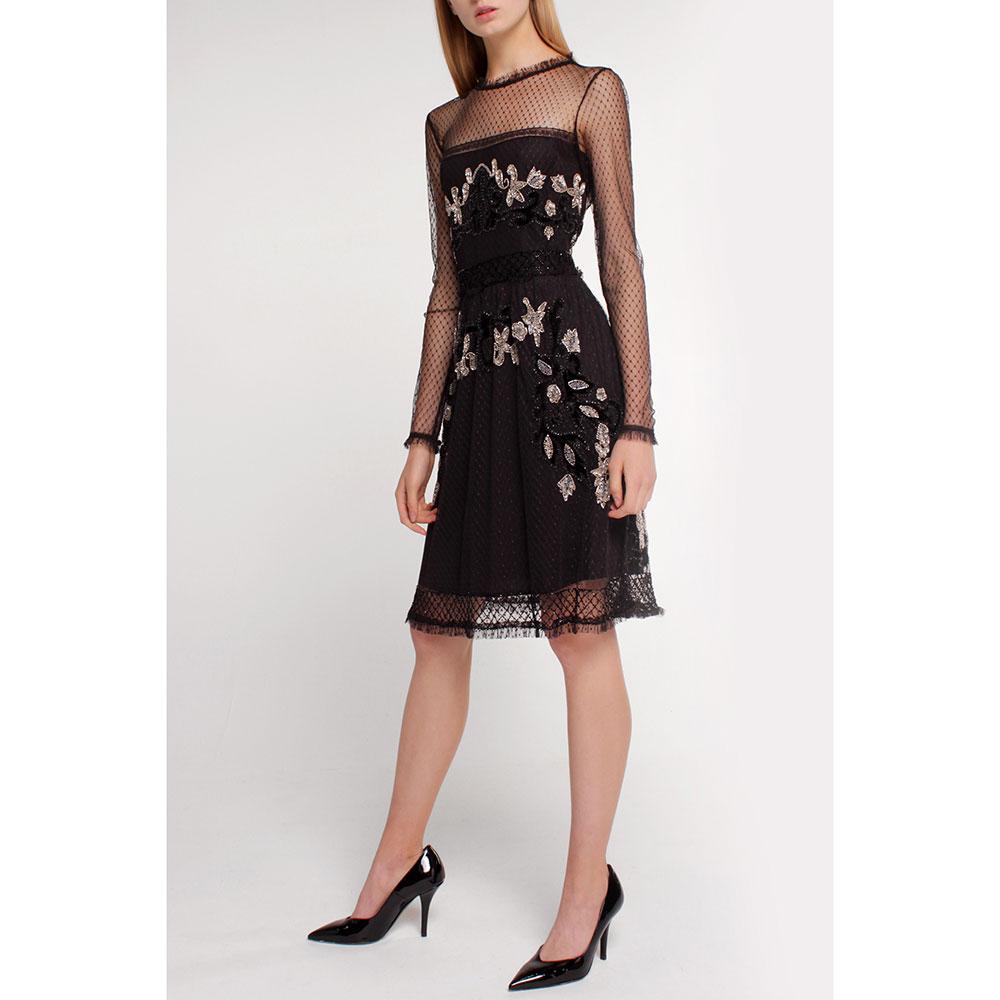 Платье Twin-Set черное с декором-камнями