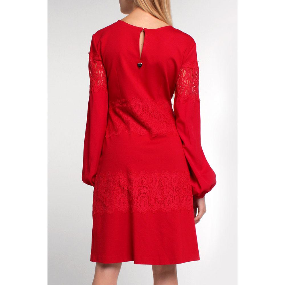 Красное платье Twin-Set с декором-кружевом