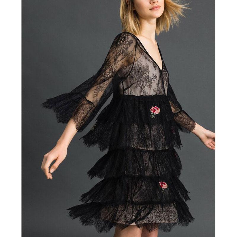 Кружевное платье Twin-Set с воланами