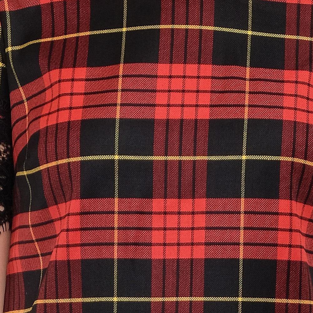 Клетчатое платье Twin-Set окантованное кружевом
