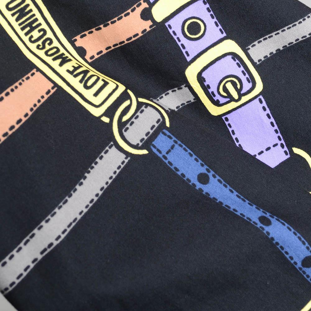 Черное платье-трапеция Love Moschino с рисунком в виде ремешков