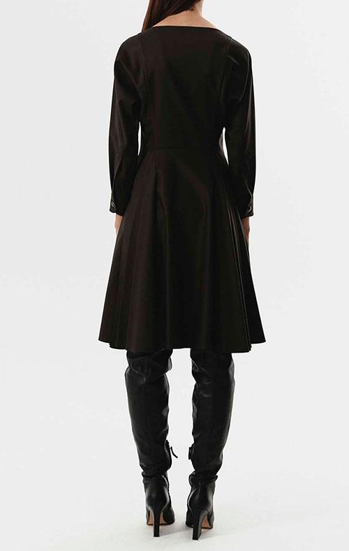 Коричневое платье Shako с пышной юбкой до колен, фото