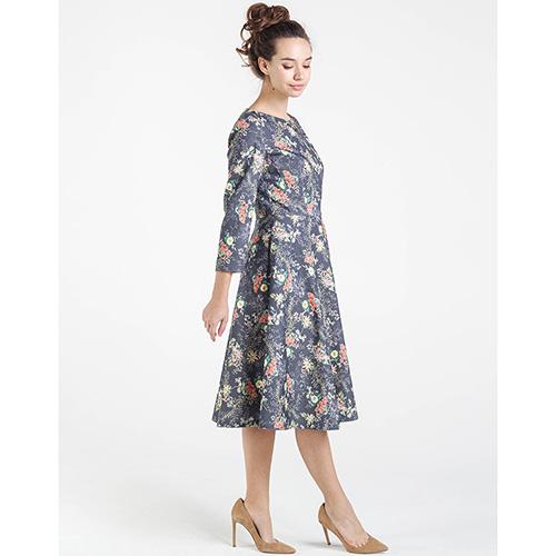 Платье серого цвета Shako с цветочным принтом, фото