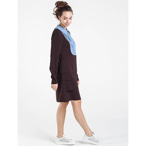 Коричневое платье Shako с длинным рукавом, фото