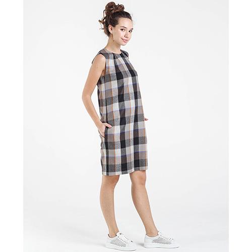 Бежевое платье Shako в клетку с молнией на спине, фото