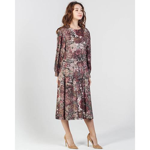 Платье Shako бордового цвета с цветочным принтом, фото