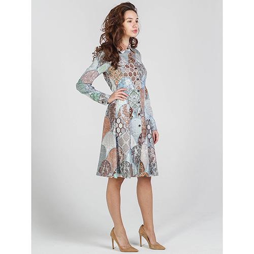 Платье-рубашка Shako серого цвета с пуговицами, фото