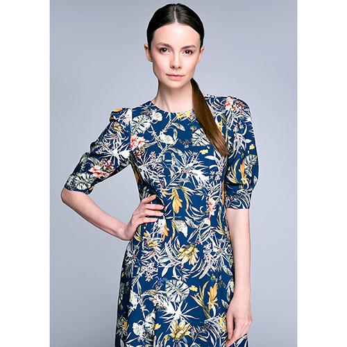 Платье-миди Shako синего цвета с пышной юбкой, фото