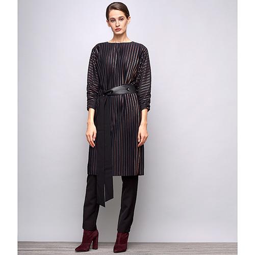 Черное платье Shako свободного кроя с длинным рукавом, фото