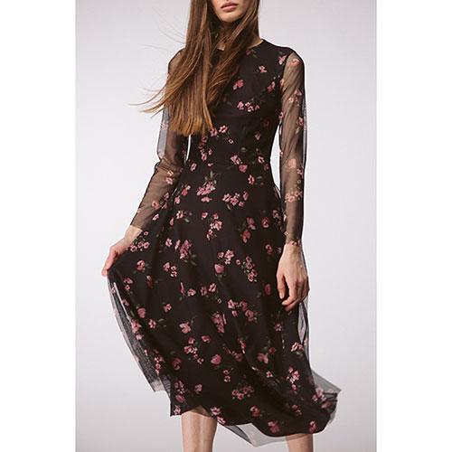 Платье черное Shako в мелкие цветы, фото