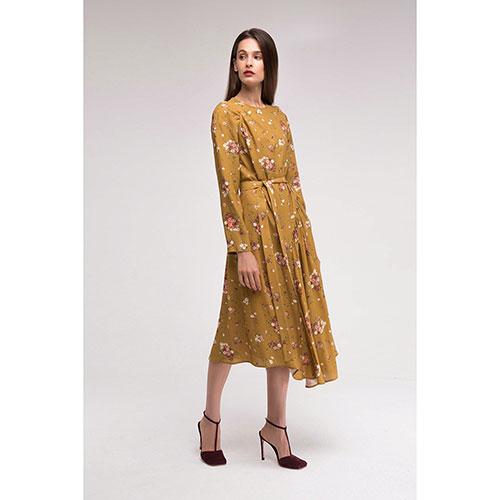 Горчичное платье Shako с асимметричной юбкой, фото