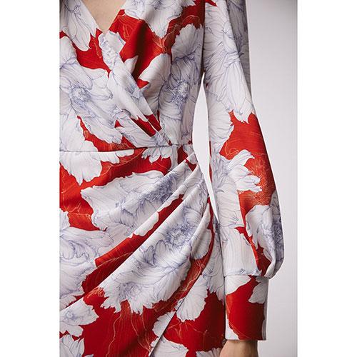 Платье с драпировкой Shako и принтом-пионами, фото