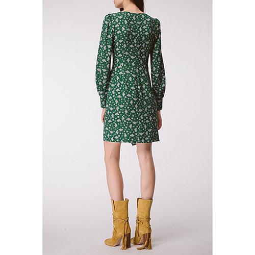 Платье с драпировкой Shako зеленое в белые цветы, фото