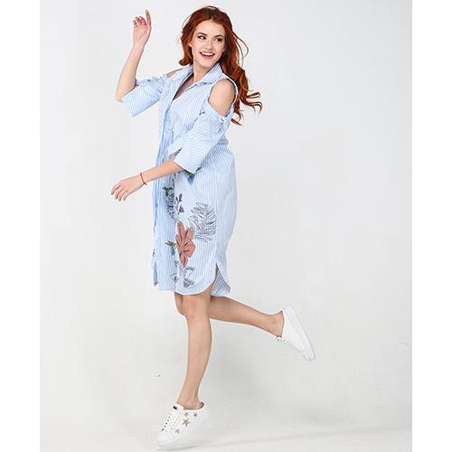 Платье-рубашка Emma&Gaia голубого цвета в полоску, фото