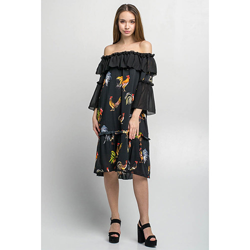 Черное платье с воланами Emma&Gaia в петушках, фото