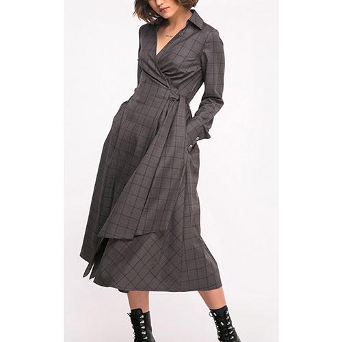 Платье-рубашка Shako в клетку серого цвета, фото
