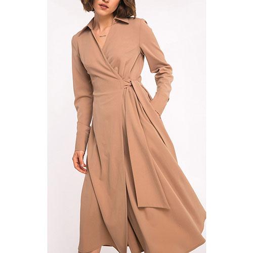 Шерстяное бежевое платье Shako на запах, фото