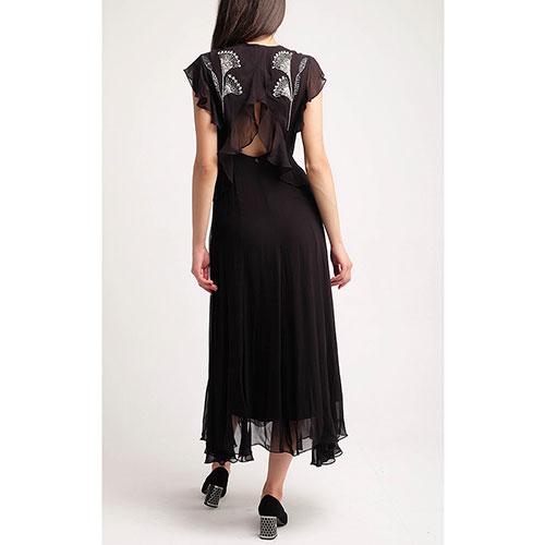 Черное платье-миди Twin-Set с открытой спиной, фото