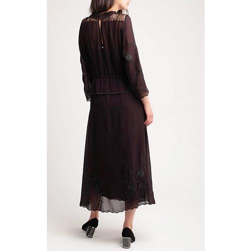 Шифоновое платье Twin-Set черного цвета с вышивкой, фото