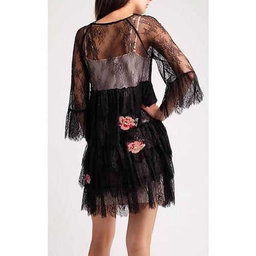 Кружевное мини-платье Twin-Set с вышивкой-розами, фото