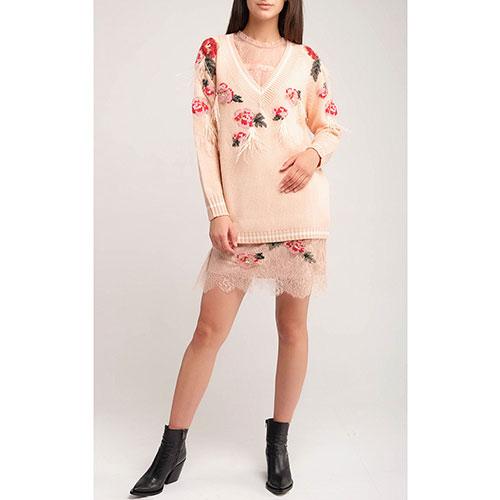 Кружевное платье Twin-Set пудрового цвета с вышивкой, фото