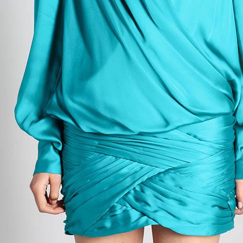 Шелковое платье Balmain с запахом и объемными рукавами, фото