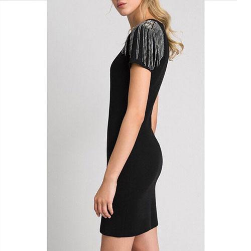 Черное платье-футляр Twin-Set с декоративными погонами, фото