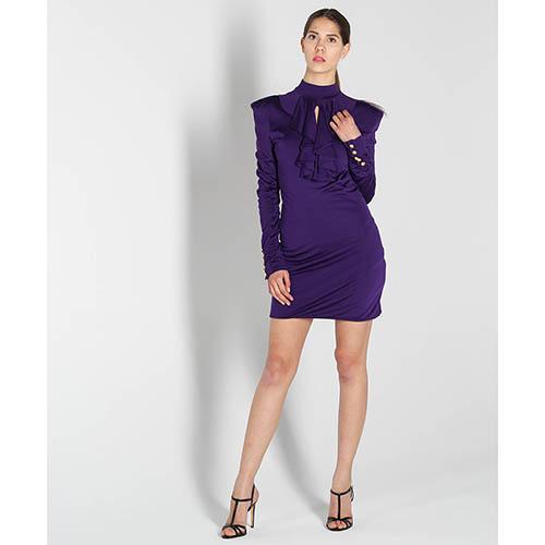 Платье Balmain фиолетового цвета  с жабо, фото